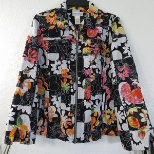 Drapers & Damons Womens Jacket Sz M Floral Zip